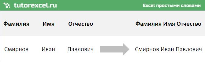 Объединение текста в Excel
