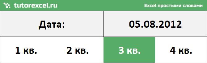 Определение номера квартала по дате в Excel