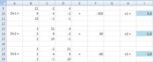Поиск решения уравнения методом Крамера