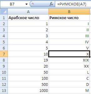 Функция РИМСКОЕ в Excel