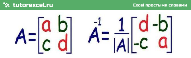 Обратная матрица в Excel