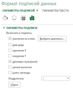 Добавление подписей данных