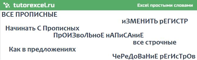 Заглавные (прописные) и строчные буквы в Excel