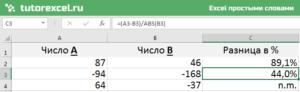 Разница в процентах между двумя числами в Excel