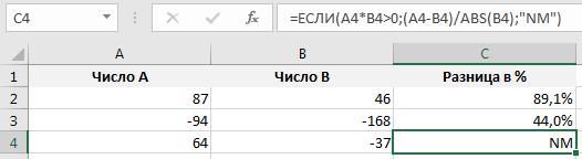 Пример вычисления разницы между двумя величинами