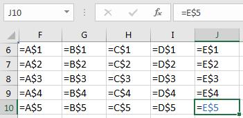 Преобразованная таблица. Вариант для A$1