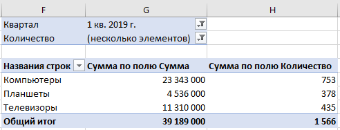 Применение фильтра для удаления нулевых значений